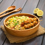 Couscous and Vegetable Salad with Chicken on Skewer Stock Image