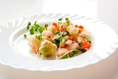 Couscous with vegetables, shrimp and radish on a white plate stock photography