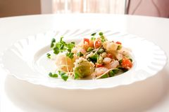 Couscous with vegetables, shrimp and radish on a white plate royalty free stock photo