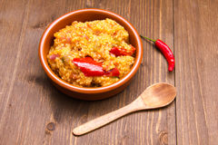Couscous with vegetables on wood Stock Photo