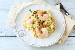 Couscous With Seafood On A Plate Stock Photography