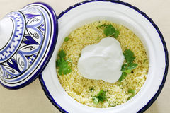 Couscous with yoghurt high angle Royalty Free Stock Photography