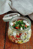 Couscoussallad med feta, oliv och basilika Royaltyfria Bilder