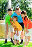 Cousins By Fountain Royalty Free Stock Photography