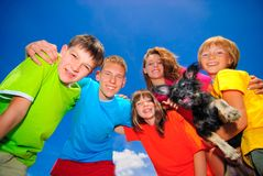 Cousins with pet Royalty Free Stock Photography