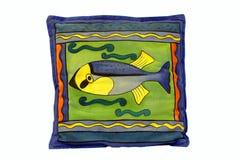 Coussin bleu avec des poissons Photographie stock