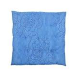 coussin bleu carré d'isolement sur le blanc photo stock