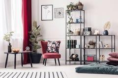 Coussin floral sur le fauteuil rouge Photographie stock libre de droits