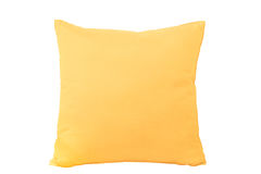 Coussin jaune d'isolement photographie stock