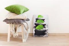 Coussins gris et verts, jet Maison confortable Photo stock