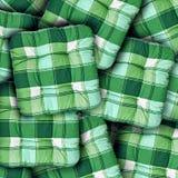 Coussins verts de plaid Photos libres de droits
