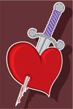 Couteau à un coeur Images stock