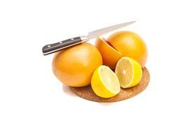 Couteau avec l'orange et les citrons Photos stock