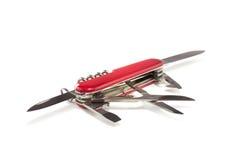 Couteau d'armée suisse ouvert Photographie stock