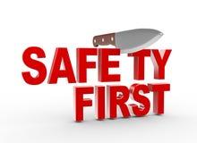 couteau 3d et texte de sécurité premier Photographie stock