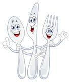 Couteau de cuillère et dessin animé de fourchette Photographie stock libre de droits
