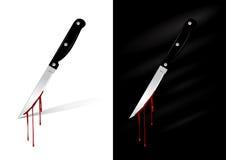 Couteau de cuisine avec le sang Photos libres de droits