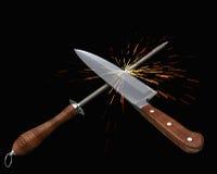 Couteau de cuisine et affûteuse II Images libres de droits