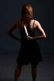 Couteau de peau de violence domestique Photo libre de droits