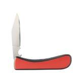 Couteau de poche pliable de couteau de poche rouge d'isolement Photographie stock libre de droits
