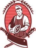 Couteau de viande de porc de boucher Images libres de droits