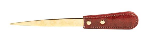 Couteau en cuir rouge d'enveloppe d'isolement Images libres de droits