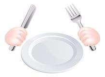 Couteau et fourchette de mains avec le plat Images libres de droits