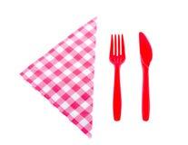 Couteau et fourchette en plastique Images stock