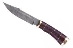 Couteau fait d'acier de Damas avec un traitement en bois Photographie stock libre de droits