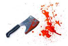 Couteau grunge avec une éclaboussure des souillures de sang Images libres de droits