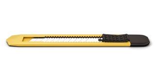 Couteau jaune de papeterie d'isolement sur le fond blanc illustration de vecteur