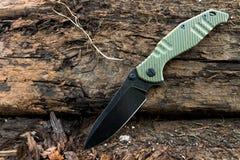Couteau pour les militaires Couteau pour les troupes spéciales Couteau tactique noir Images stock