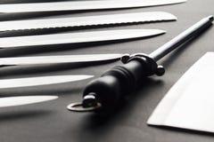Couteaux de cuisine d'acier inoxydable Photographie stock