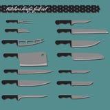 Couteaux de cuisine d'ensemble complet de vecteur Image libre de droits
