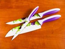 Couteaux de cuisine en céramique Image libre de droits