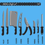 Couteaux de cuisine réglés du numéro deux de vecteur Image libre de droits