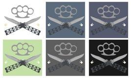 Couteaux de papillon avec l'emblème en acier d'articulation en laiton et de dents illustration libre de droits