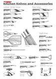 Couteaux et accessoires de cuisine illustration libre de droits