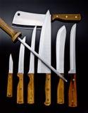 Couteaux et couverts en bois de chef de traitement Photos stock