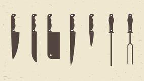 Couteaux réglés ou icônes de couteaux de cuisine Illustration de vecteur Image libre de droits