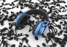 Écouteurs bleus Photographie stock libre de droits