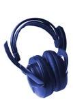 Écouteurs bleus d'isolement Images libres de droits