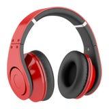 Écouteurs sans fil rouges et noirs d'isolement sur le blanc Images stock