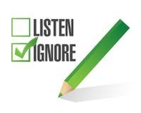 Écoutez ou ignorez la conception d'illustration de case à cocher Photographie stock libre de droits