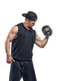 Coutoutsportman die een domoor voor de opleiding van zijn bicepsen opheffen Macht opleiding Gezonde Levensstijl Fitness en sport Stock Afbeelding