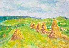 Coutryside landscape with haaystacks, watercolor painting. Hand drawn watercolor painting of beautiful countryside landscape with haystacks Royalty Free Stock Photography