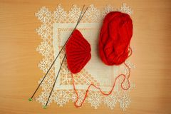 Couture, aiguilles de tricotage et crochet Photo stock