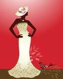 Couture woman. Couture fashion dress with hat flower and Royalty Free Stock Photography