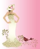 Couture woman. Couture fashion dress with hat flower and bird Royalty Free Stock Photo