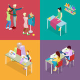 Couturière isométrique Salon Atelier avec le tailleur et le mannequin Couture et tricotage Femme faisant des vêtements illustration libre de droits
